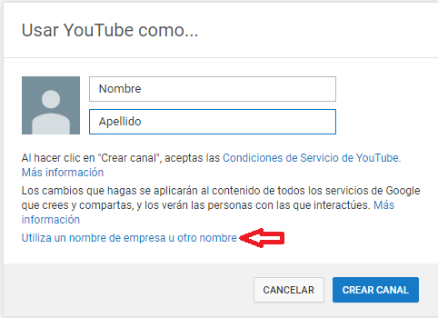 Crear canal de youtube