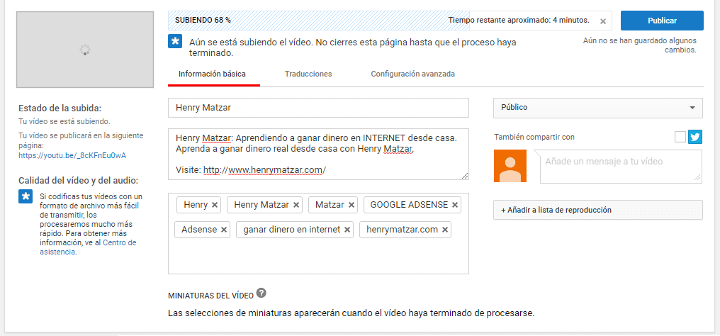 Subir videos en youtube