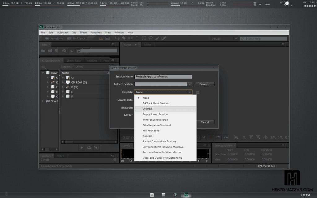 Panel Adobe Audition Portable CS6