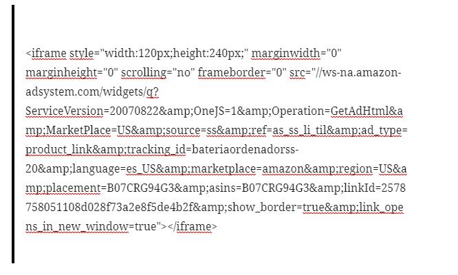 Código HTML Productos de amazon afiliados