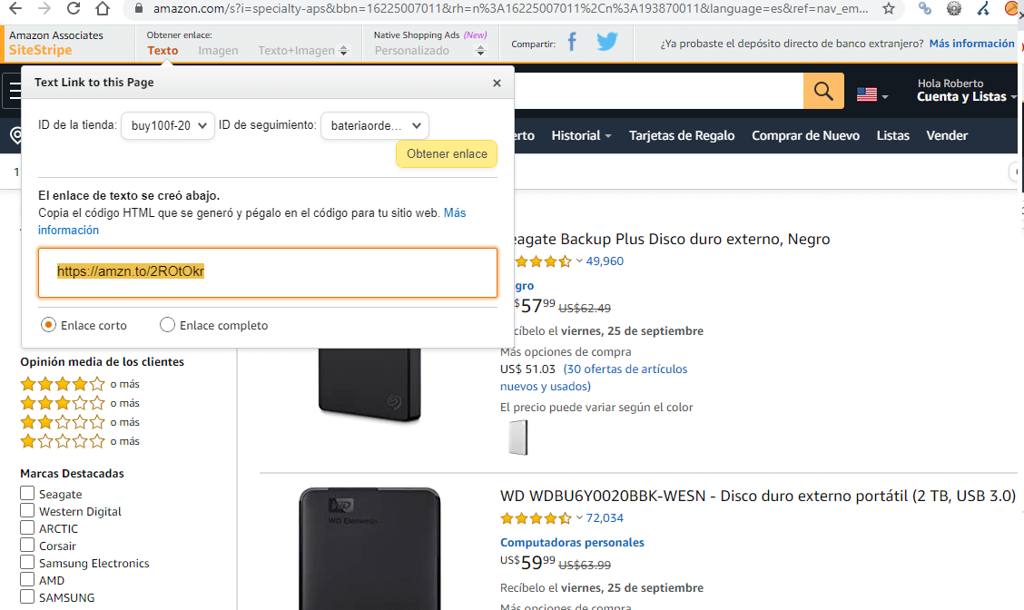 Enlace de amazon afiliado